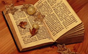 A bible with trinkets