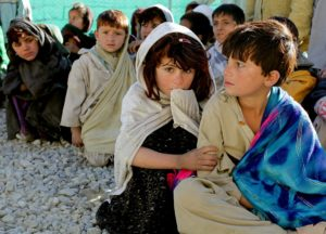 Children huddled